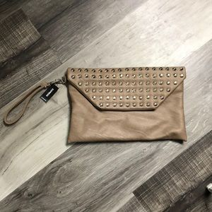 Tan/brown studded clutch from express NWT